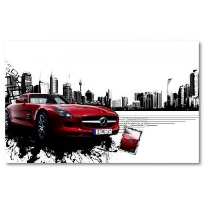 Αφίσα (αυτοκίνητο, sls, mercedes, μαύρο, λευκό, άσπρο)